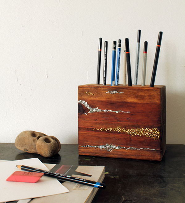 Embellished Wood Pencil Block. Get the tutorial