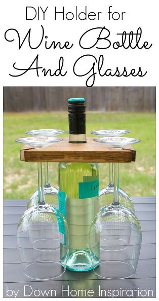 DIY Holder for a Wine Bottle and Glasses . Get the step by step tutorial