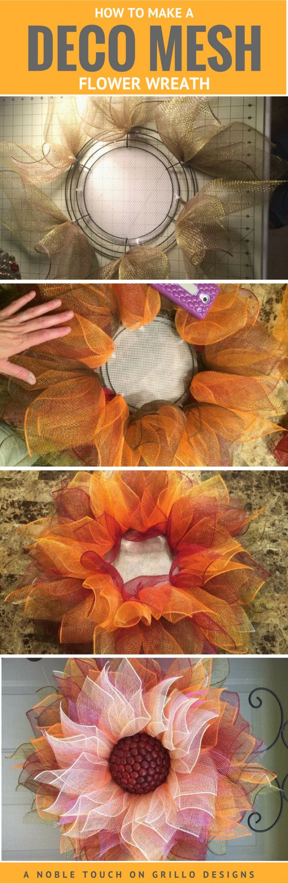 Deco Mesh Flower Wreath.