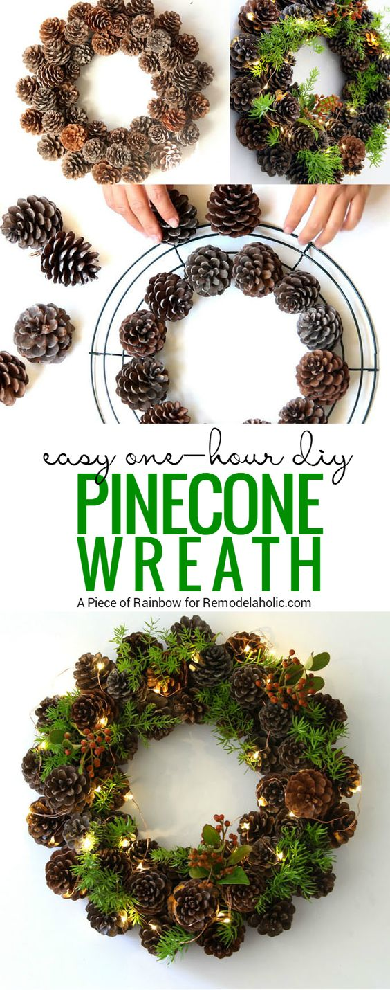 Easy DIY Pinecone Wreath.