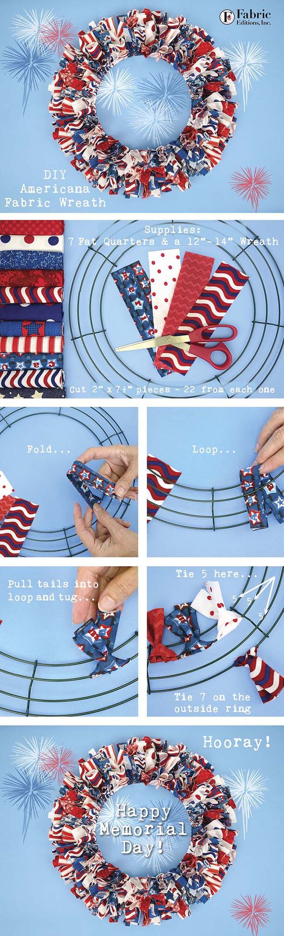 DIY Americana Fabric Wreath.