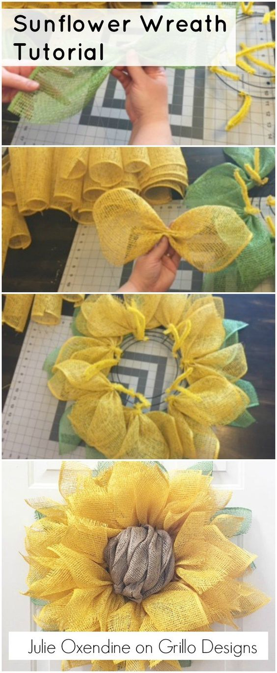 DIY Sunflower Wreath.