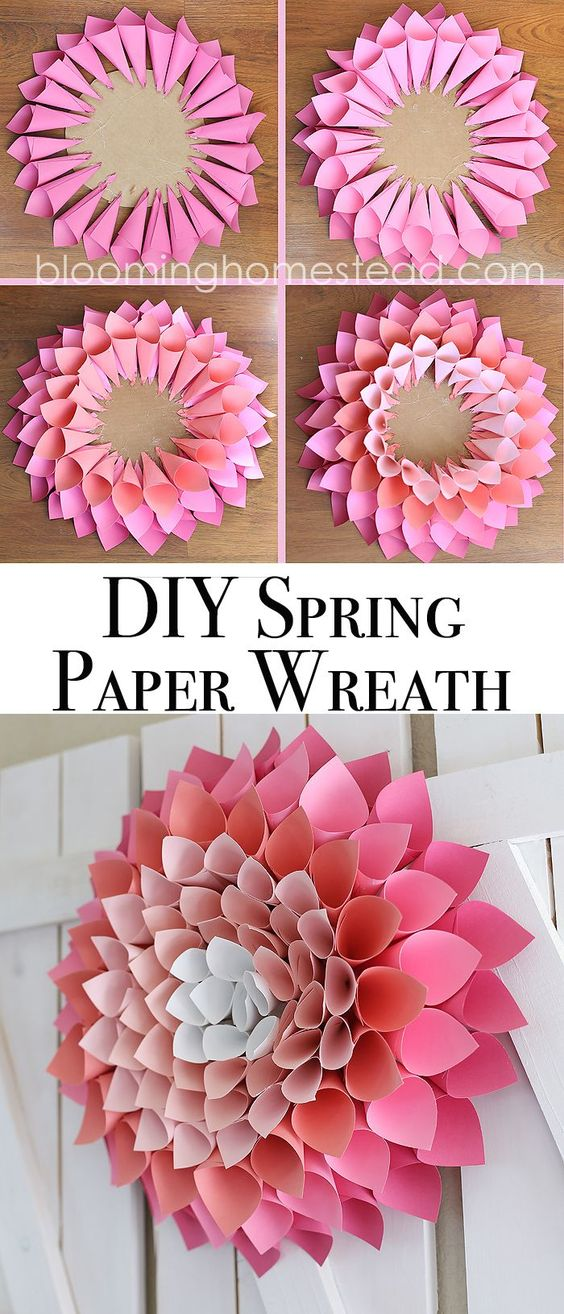 DIY Spring Paper Wreath.