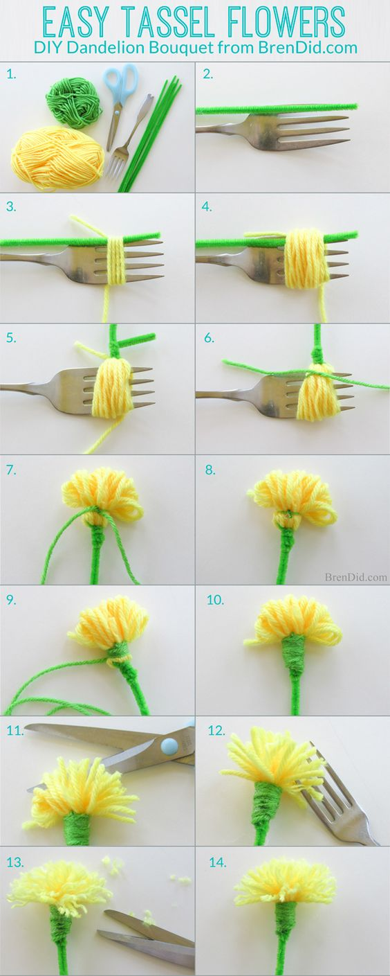 DIY Yarn Dandelion Bouquet Made From Tassels With A Pipe Cleaner Stem.