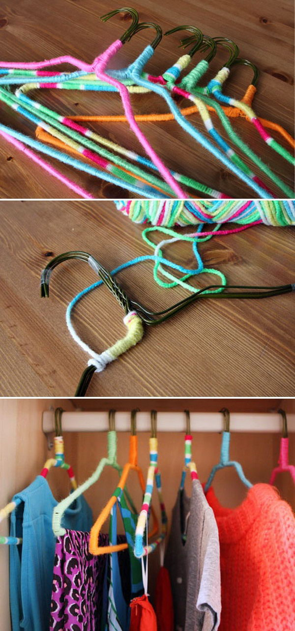DIY Nonslip Hangers Using Neon Yarn. Upgrade your wire hangers to beautiful nonslip hangers and add color to your closet with this simple DIY tutorial. It's also a perfect way to protect your delicate silk clothes from damage. Tutorial via