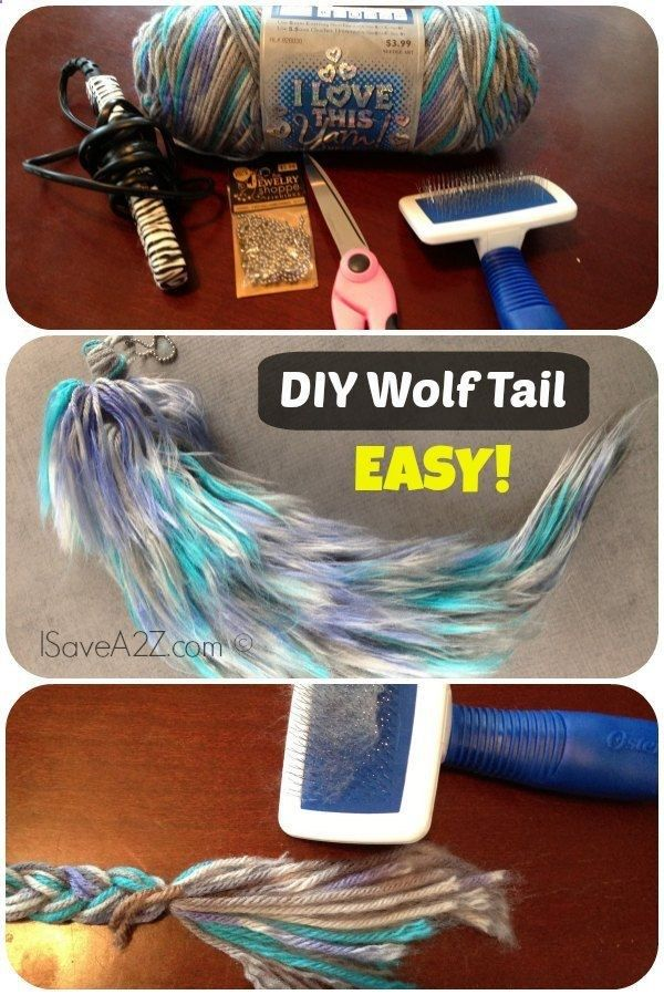 Cool DIY Costume Wolf Tail. Make a wolf tail (for costumes) out of yarn. It looks cool and would be good for the Halloween costume. Tutorial via