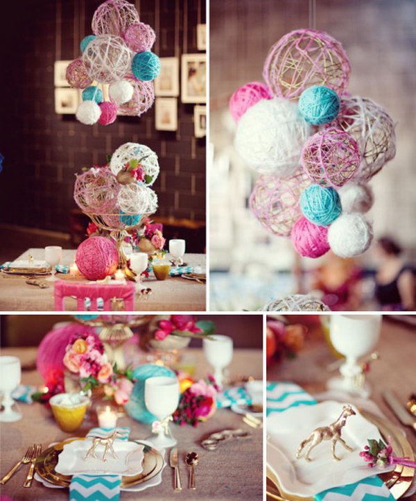 Lovely and Diy-able Spray Paint Yarn Balls. What a beautiful idea nice for the shower. See more pictures from