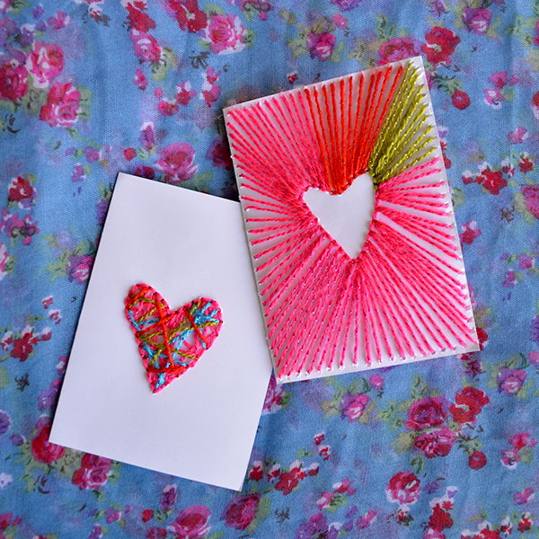 DIY Neon String Art Valentine's Cards. Show your love on the special day with these easy but beautiful heart cards. Tutorial via