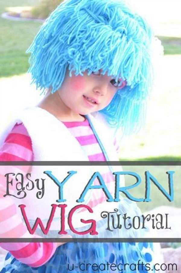 DIY Yarn Wig for Costume. Make this cute yarn wig for your daughter's Halloween costume with a knit beanie and yarn. Tutorial via