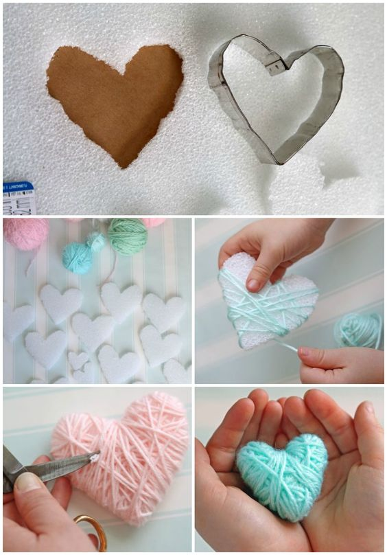 Yarn Wrapped Hearts.