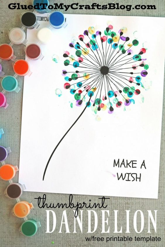 Thumbprint Dandelion Card.