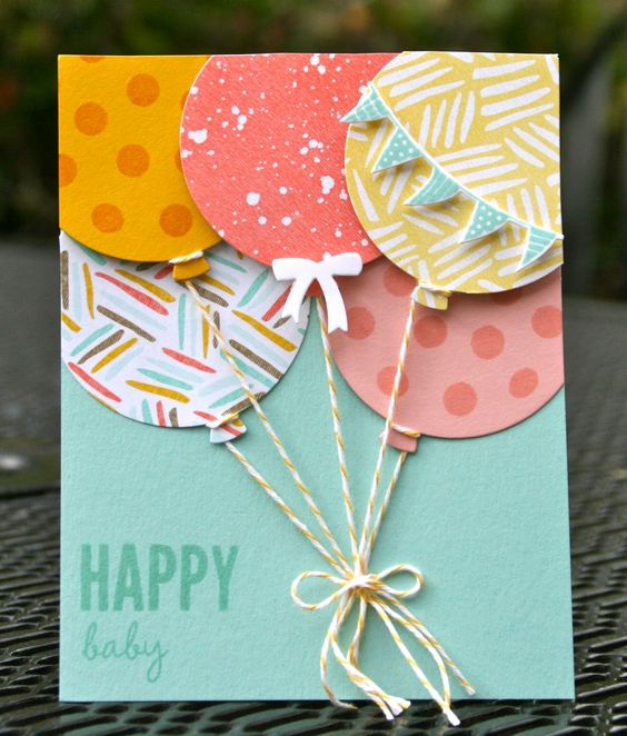 Attach The Balloon to Your Card Using Strings.
