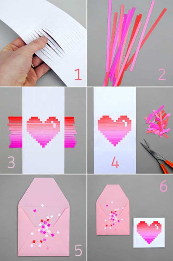 DIY Valentine's Day Cards Made out of Paper Strips.