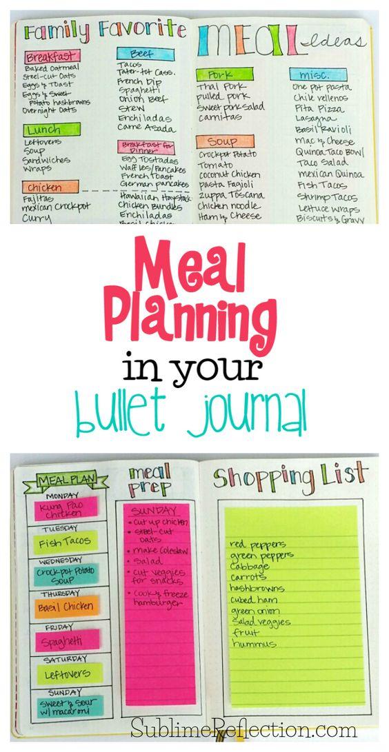 Bullet Journal for Meal Planning.