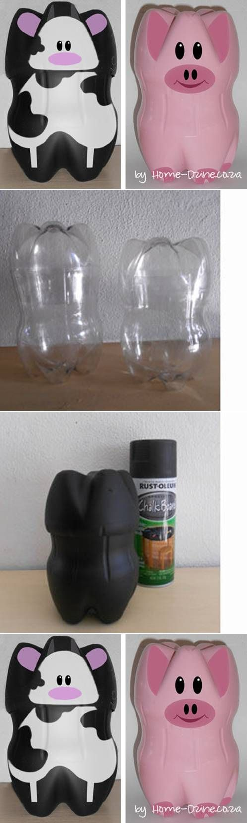 DIY Plastic Bottle Piggy Banks.