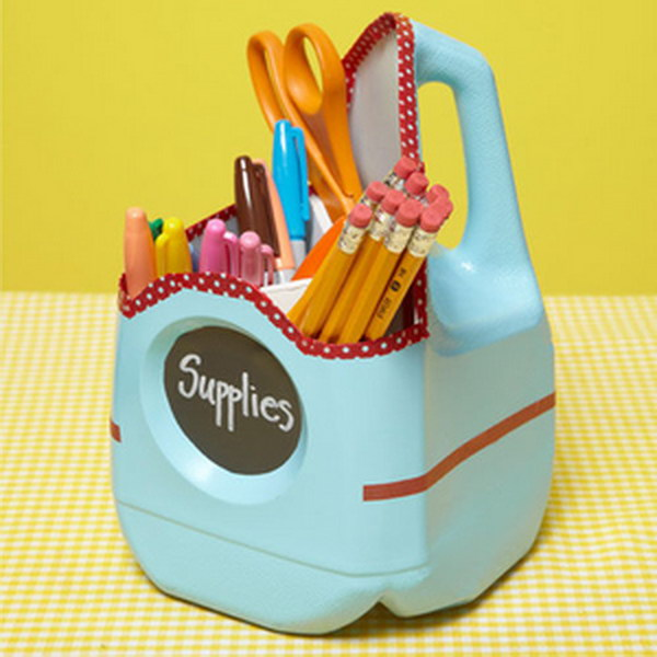 Milk Jug School-Supply Container.