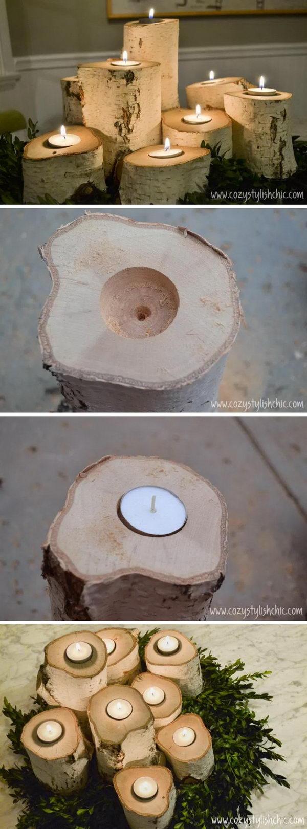 Tree Stump Candle Holders.