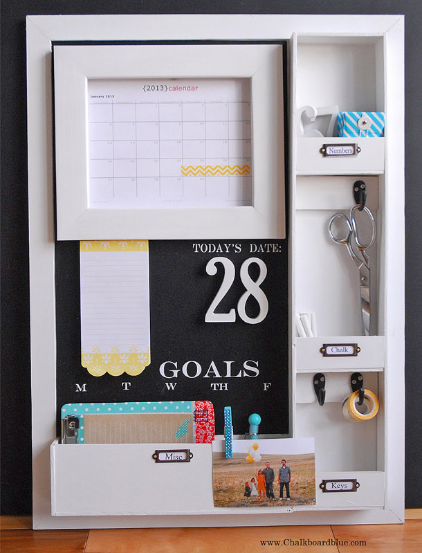 DIY Message Board With Many Cute Cubbies For Storage.