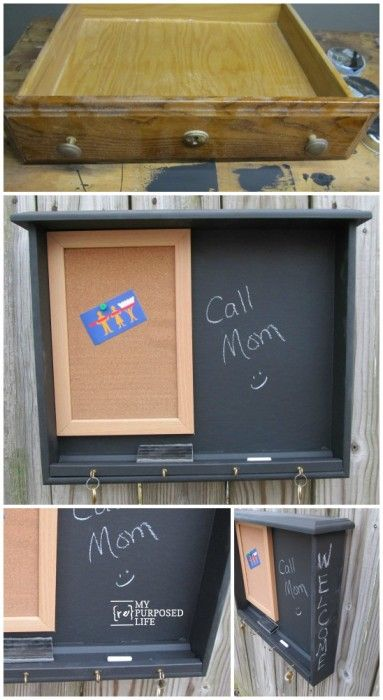 Memo Chalkboard Organizer Repurposed From An Old Desk Drawer.