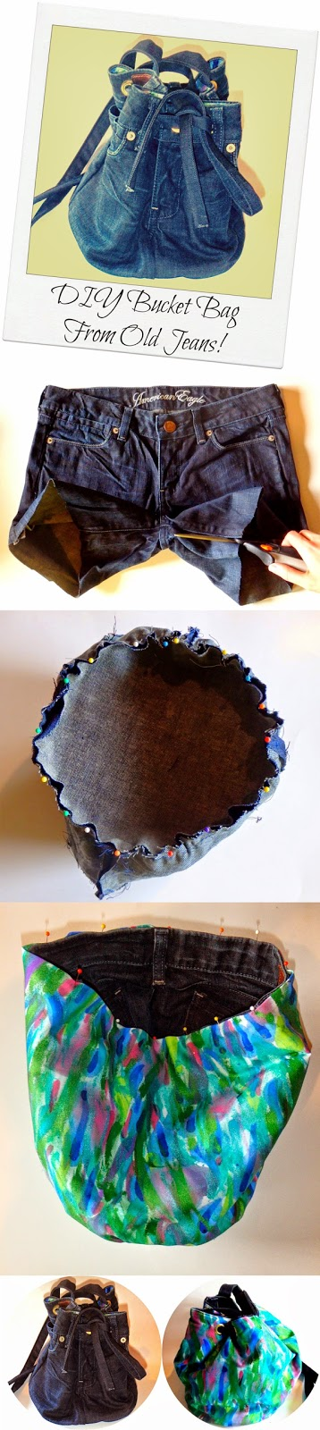 DIY Bucket Bag From Old Jeans.