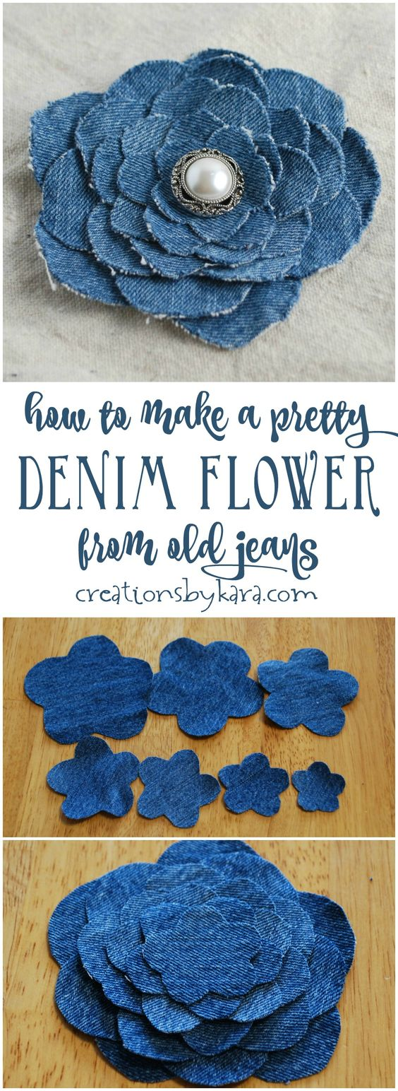 Beautiful Denim Flower From An Old Pair Of Jeans.