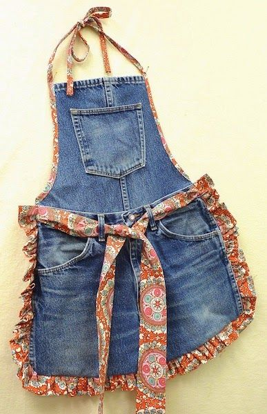 Recycle Old Blue Jeans into a Fun Apron.