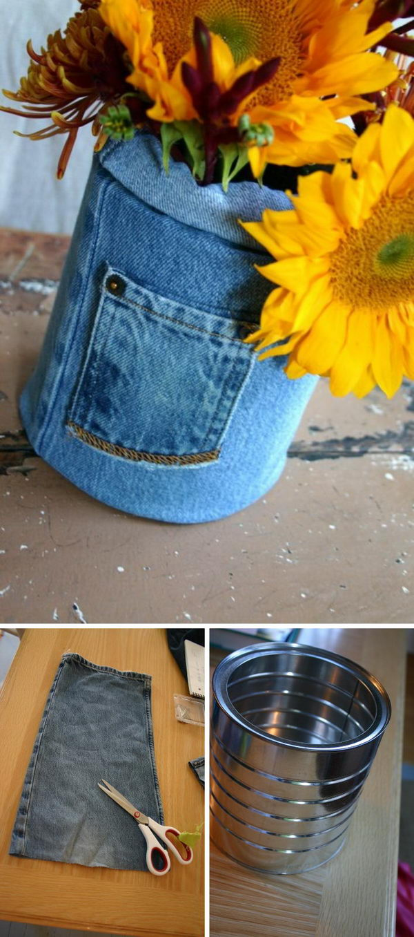 DIY Vase Made From Coffee Can And Part Of An Old Pair Of Jeans.