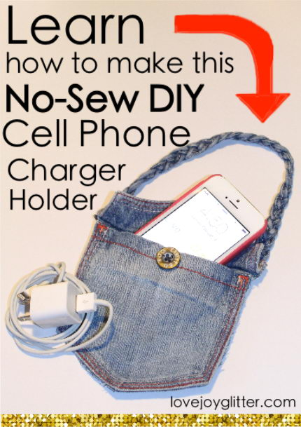 Cell Phone Charging Holder Made Out Of A Pocket Of Jeans.