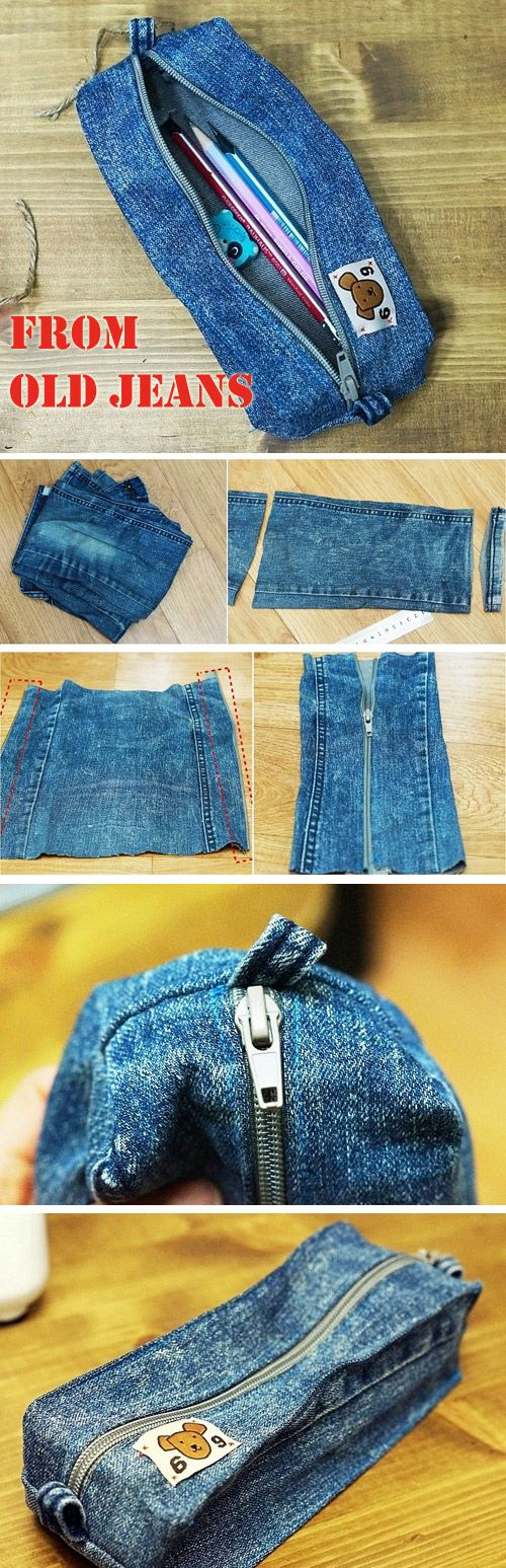DIY Denim Pencil Case.