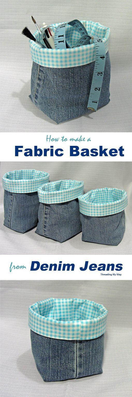 Denim Fabric Baskets.