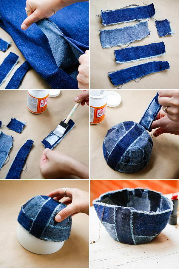 Recycle Old Jeans Into A Patchwork Jean Bowl.