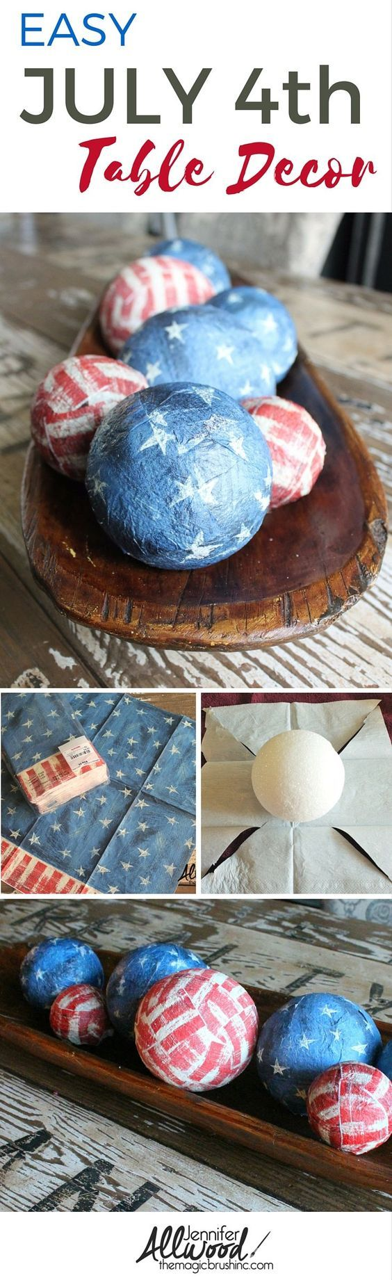 Decoupage Styrofoam Balls With Flag Napkins For Table Decoration.