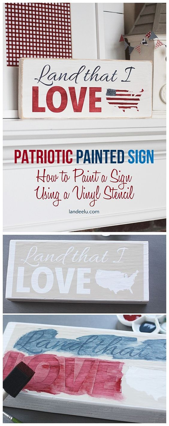 4th of July Patriotic Painted Sign.