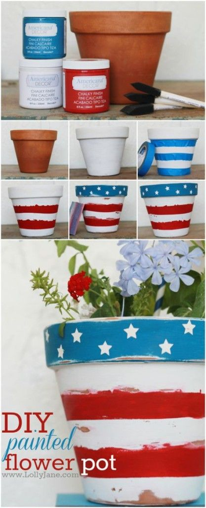 Stars and Stripes Patriotic Flower Pot.