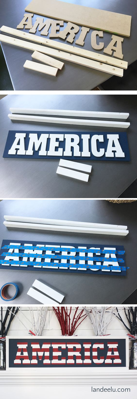 DIY Independence Day America Sign.
