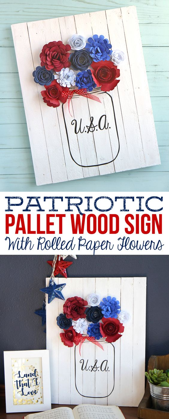 Patriotic Pallet Wood Sign with Rolled Paper Flowers.