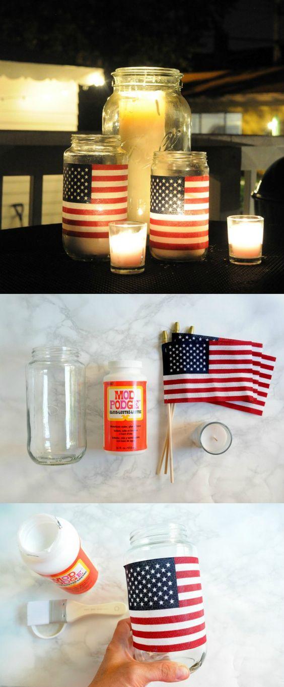 Easy American Flag DIY Lanterns.