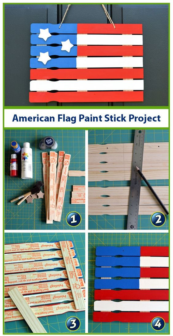 American Flag Paint Stick Project.