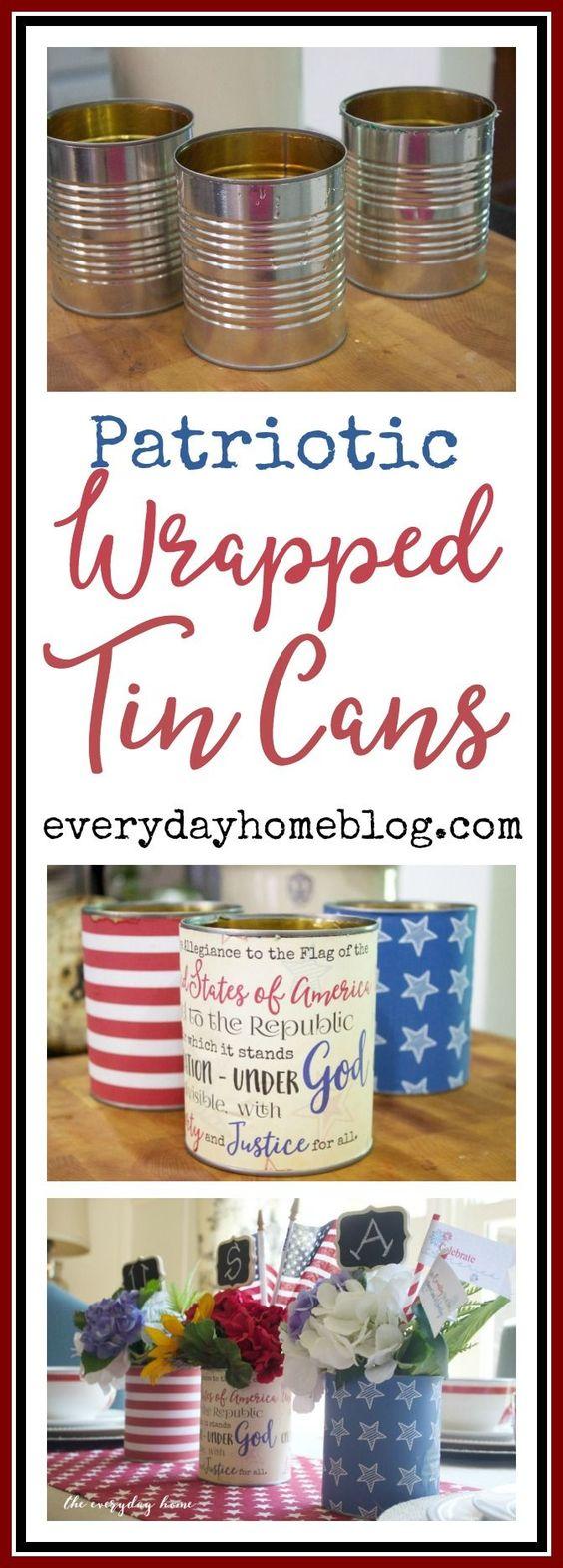 Easy DIY Patriotic Tin Can Centerpiece.