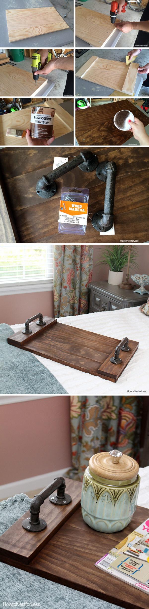 DIY Dark Walnut Stained Wood Tray.