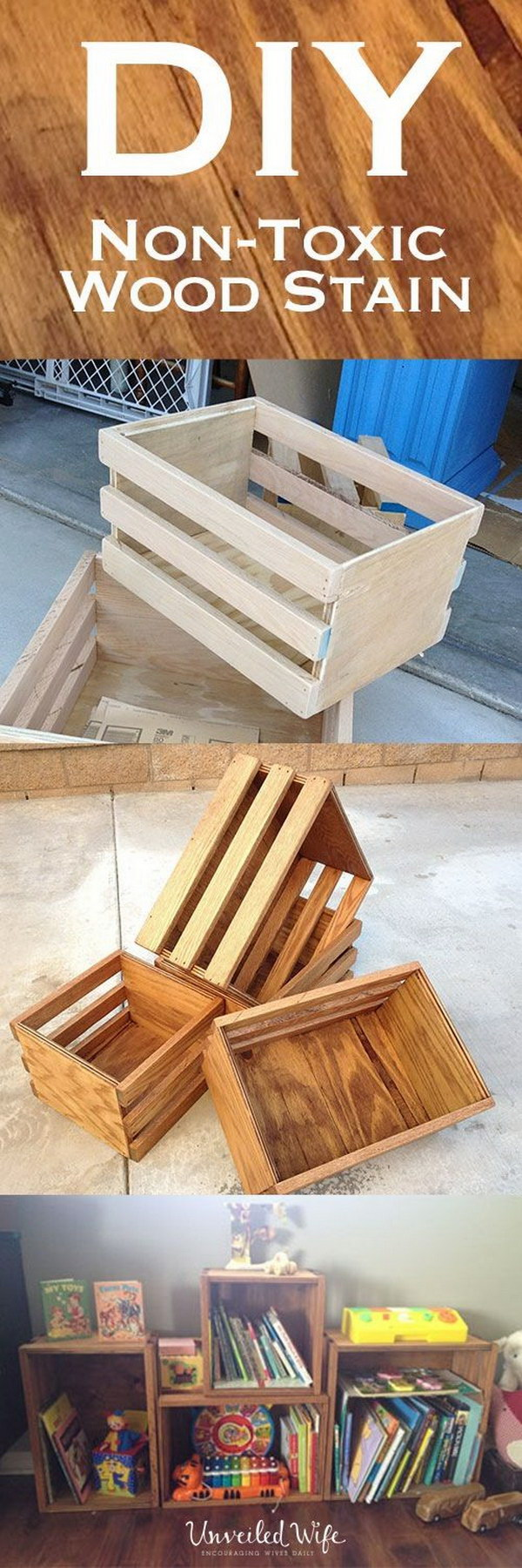 Stained Crate Book Shelves.