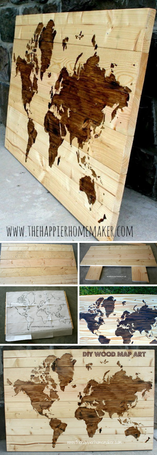 25 diy ideas tutorials for using wood stains 2017 diy wooden world map art gumiabroncs Images