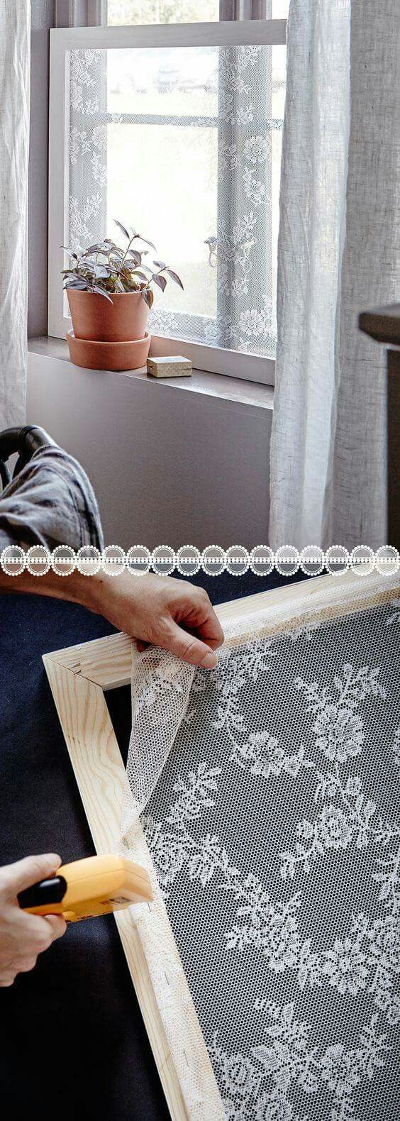 Make Your Space Pretty and Keep Mosquitoes Out Using Lace Window Screens.