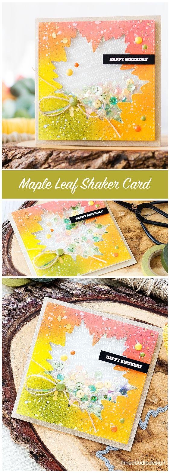 Maple Leaf Autumn Shaker Card.