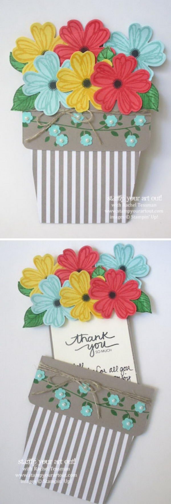 Thank You Card With Flowers Sliding in And out of The Pot.