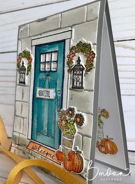 Lovely Blue Door Thanksgiving Card.