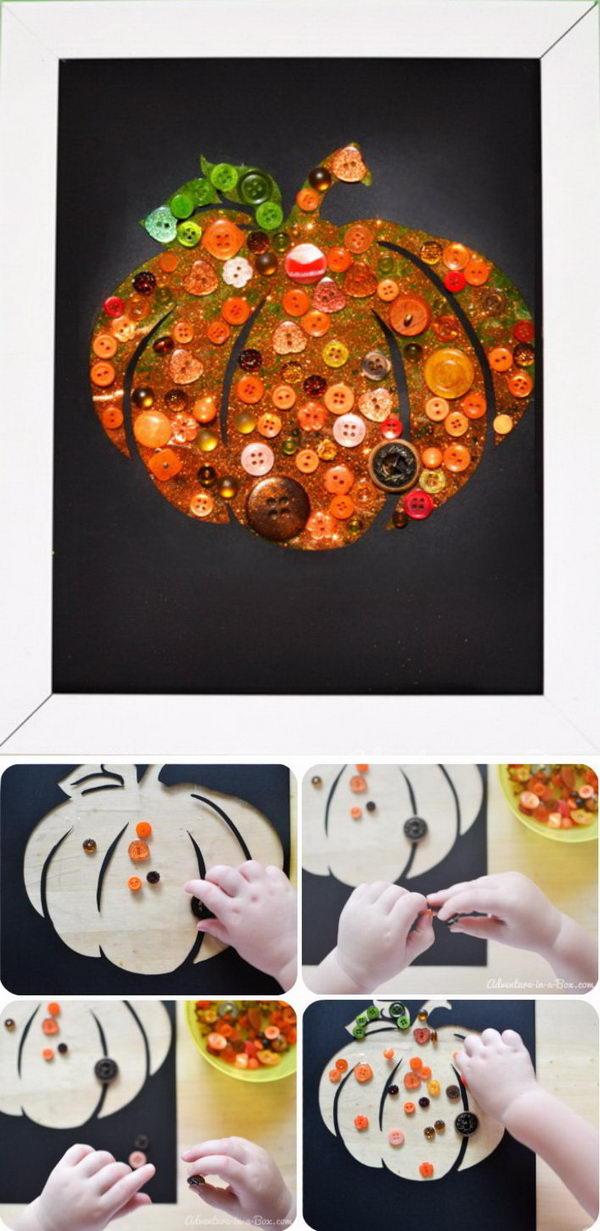 Easy DIY Button Pumpkin Card.