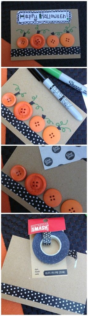 Cards Made With Button Pumpkins.