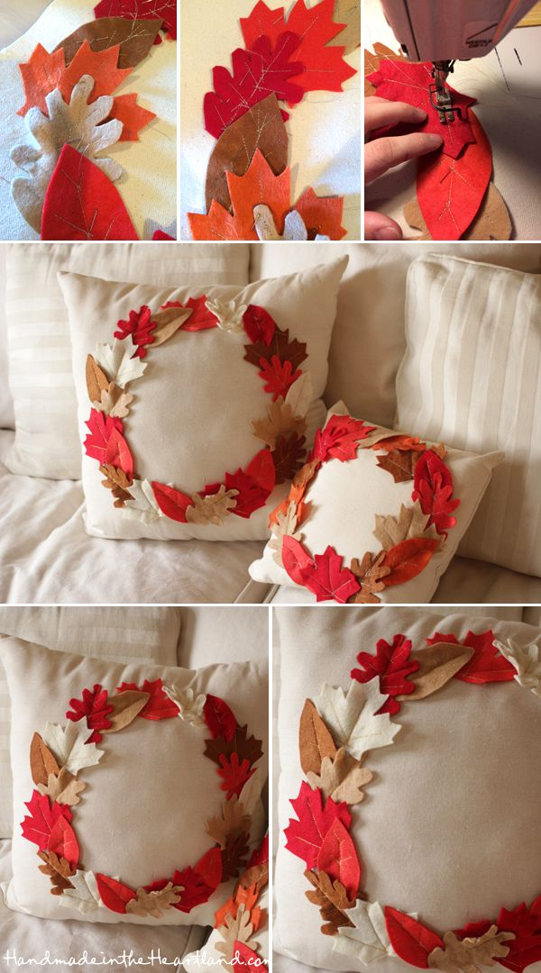 DIY Thanksgiving Leaf Pillows.