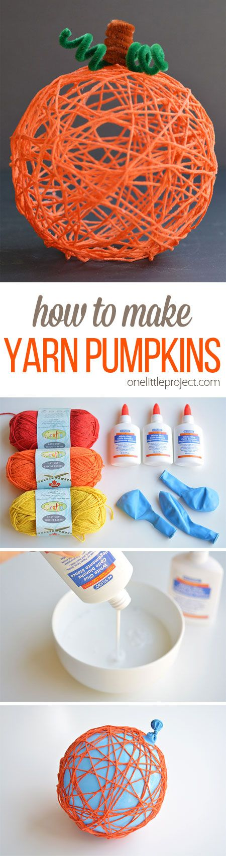 DIY Yarn Pumpkins Using Balloons.